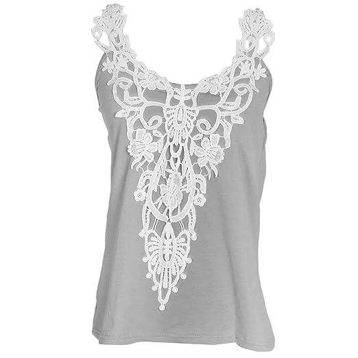 f4db0b71dca0c3 MonkeyJack Girls Ladies Women Cotton Tops Sleeveless Lace Vest Blouse Crop  Top Gray S-5XL