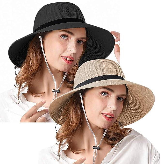 2a85d68d Women Wide Brim Straw Sun Hats Foldable Summer Beach Hat UPF50 UV ...