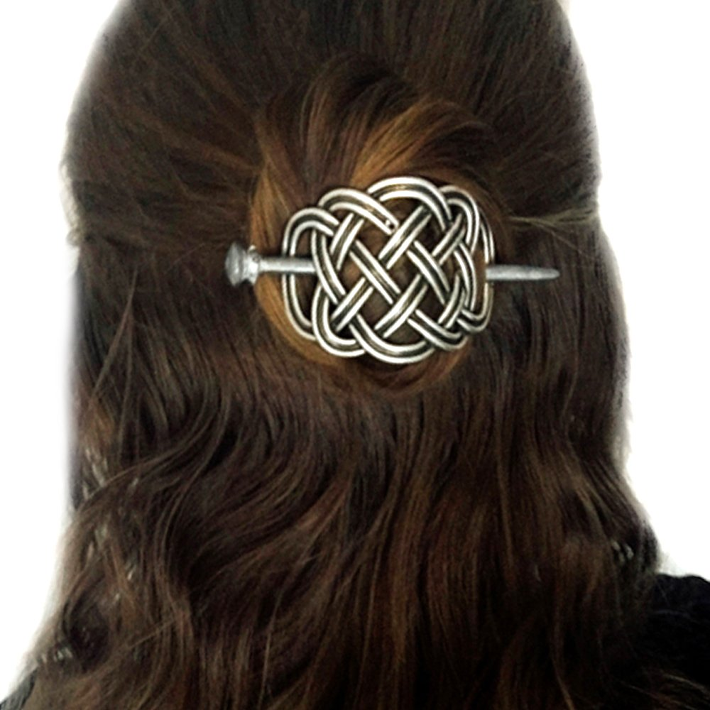 Viking Celtic Hair Clips Hairpins- Viking Hair Accessories Celtic Knot Hair Pins Antique Silver Hair Sticks Irish Hair Decor Accessories for Long Hair Jewelry Braids Hair Slide Clip with Stick Vikingamulet
