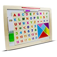 Spin Hacks 2 in 1 Magnetic White Board and Slate with Tangram Puzzle, Alphabets, Numbers, Mathematical Symbols Operations, Chalk, Marker, Duster Multicolor