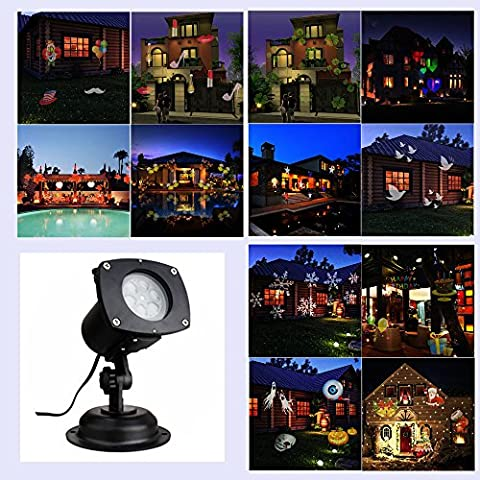 LED Projector Lights 12 Switchable Pattern Lens Garden Lamp Lighting Waterproof Sparkling Rotating Spotlight Landscape Projection Light for Decoration Lighting on Christmas Halloween Holiday Party
