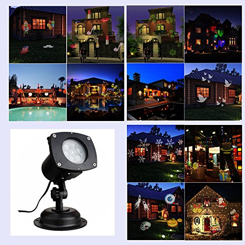 LED Projector Lights 12 Switchable Pattern Lens Garden Lamp Lighting Waterproof Sparkling Rotating Spotlight Landscape Projection Light for Decoration Lighting on Christmas Halloween Holiday Party by Leeron