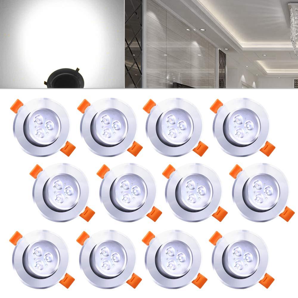 Hengda® 12X 3W Einbauleuchte Deckenleuchten für Küche Flur Wohnzimmer Beleuchtung mit Schwenkbar Küchenlampen Alu-matt HIGH QUALITY IP44 B-12-HG1555d