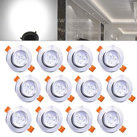 Hengda® 12X 3W Lámparas de techo empotradas para pasillo de cocina Iluminación de salón con lámparas de cocina giratorias de aluminio con hielo ALTA ...