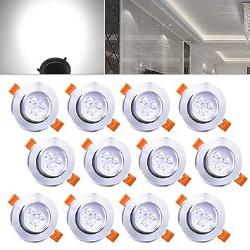 Hengda 12x 3W LED Einbaustrahler Dimmbar Kaltweiß für Flur ...