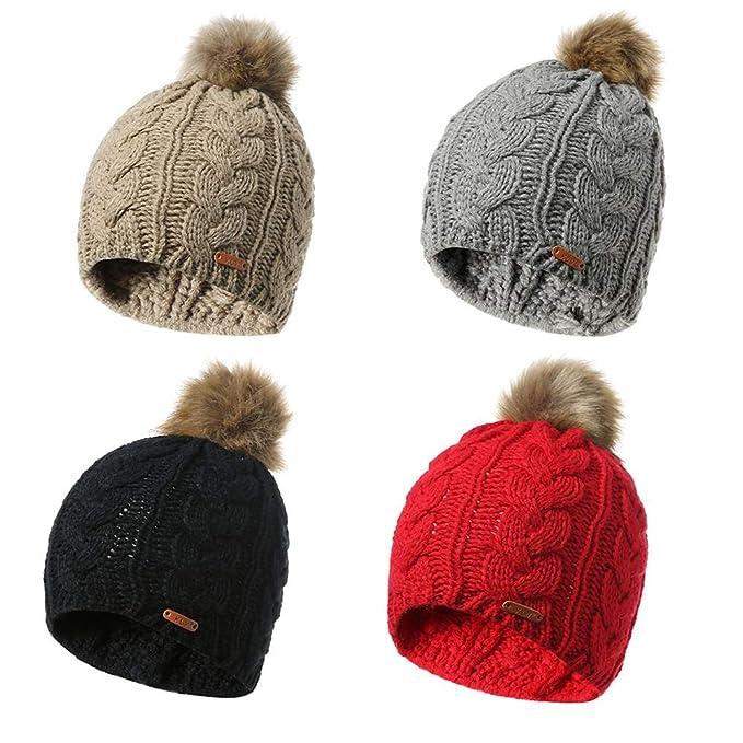 Sombrero De Punto De Lana De Invierno Cachemira Gorras De Punto De Giro  Grueso Suave Caliente Sombreros para Mujeres Invierno Genuino Pompones  Señoras ... b79962d1939