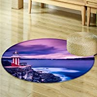 Round Area Rug Carpet A night Lighthouse Living Dinning Room and Bedroom Rugs -Round 51