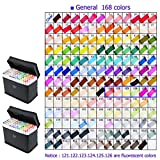 168 Color SET TOUCH New 6 Alcohol Graphic Art Twin Tip Pen Marker Fashion Design (168)