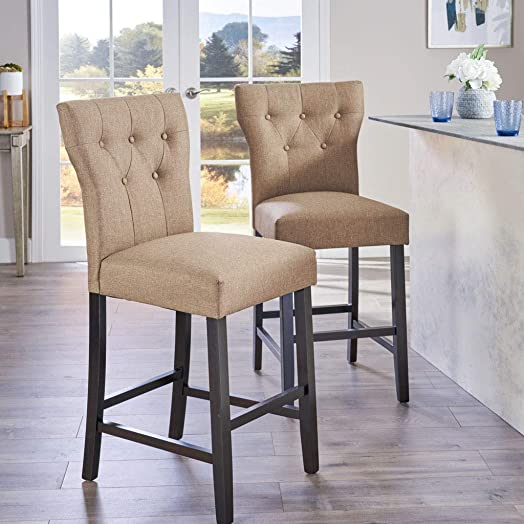 Christopher Knight Home Danar Fabric Counterstool, 2-Pcs Set, Mocha