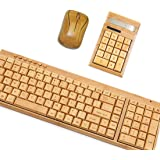 Smart Tech Handcrafted Natural Bamboo Wooden PC Wireless 2.4GHz Keyboard Mouse Combo + Free Smart Tech Touch Pen (Large+Calculator)