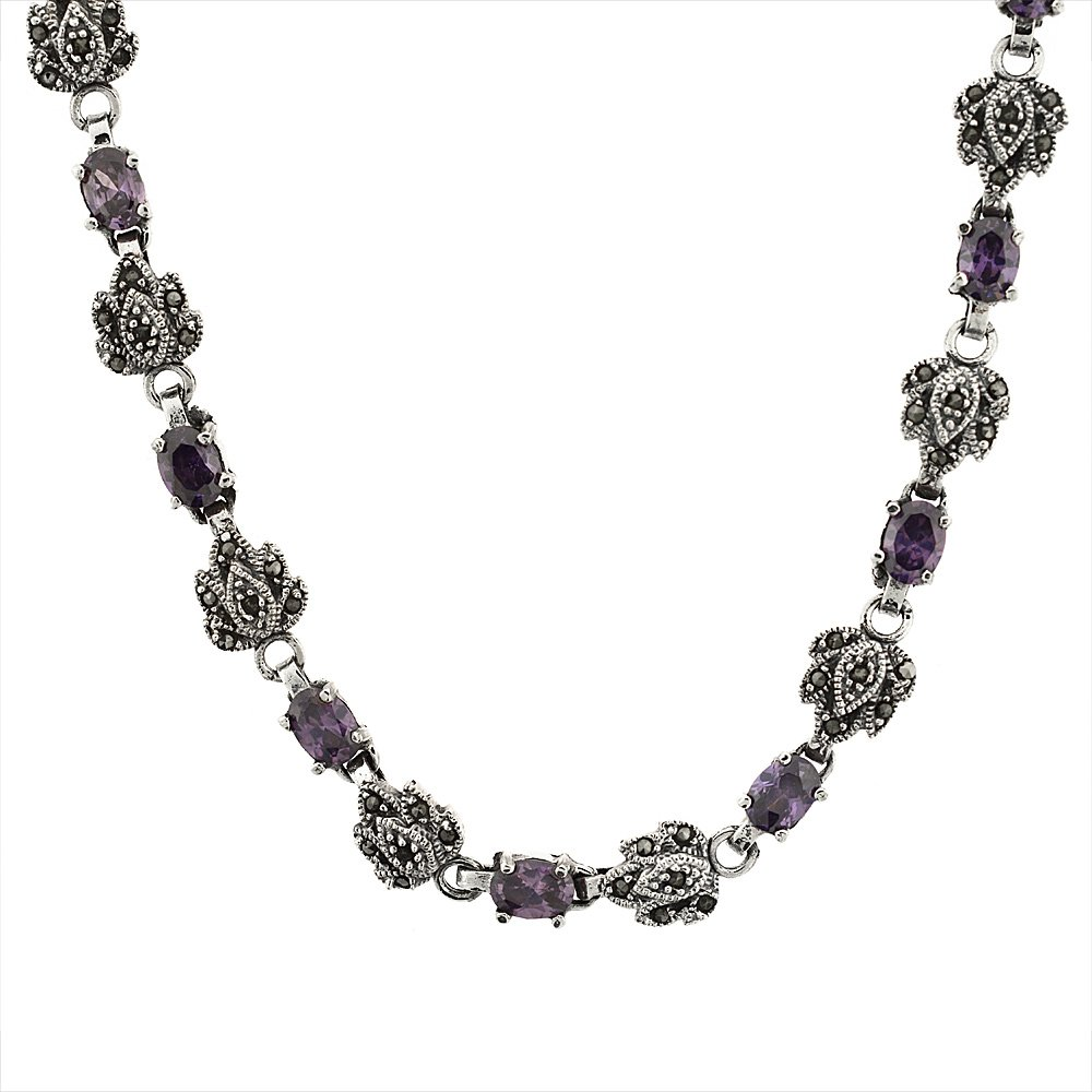 Sterling Silver Cubic Zirconia Amethyst Marcasite Necklace, 16 inch long