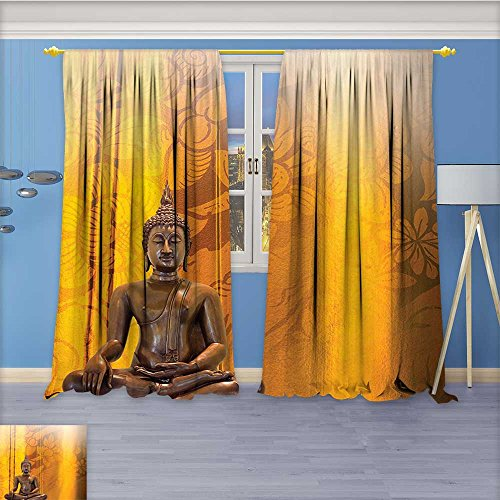 Nalahome Pattern Decor Artistic Window Curtain by, Artistic Antiqued Look Background and East Ormanents Style Orange Bronze,Living Room Bedroom Decorations, 120W x 96L inch