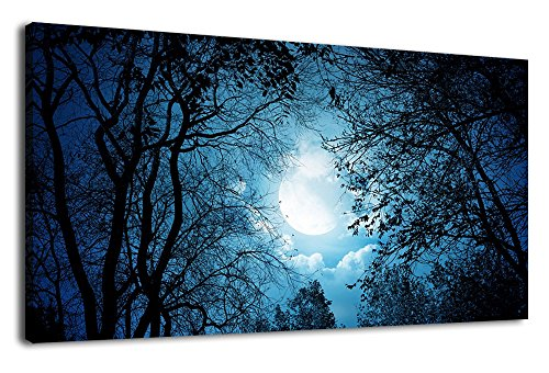 Canvas Wall Art Full Moon Night Sky View from Tree Branches Nature Picture Large Canvas Artwork Panoramic Contemporary Wall Art Beautiful Night at Moonlight Woods Blue Cloud for Home Office Decoration Night Canvas Art
