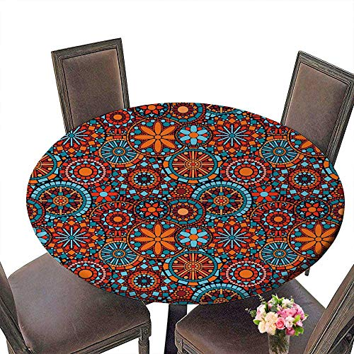 PINAFORE Modern Simple Round Tablecloth Colorful Circle Flower Mandalas Seamless in Blue red and Orange Decoration Washable 50