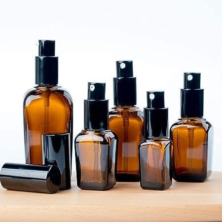 TRYSHA 3pcs Durable Cuadrado de Vidrio ámbar Botellas del Aerosol portátil Esencia Aceite envase retornable Viaje Empty Bottle (50 ml) Mini Botella de Spray: Amazon.es: Hogar