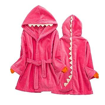 LIOOBO Niños Dinosaurio algodón paño Grueso y Suave Albornoz con Capucha Ropa de Dormir Toalla de baño Ropa de Dormir (Rojo): Amazon.es: Hogar