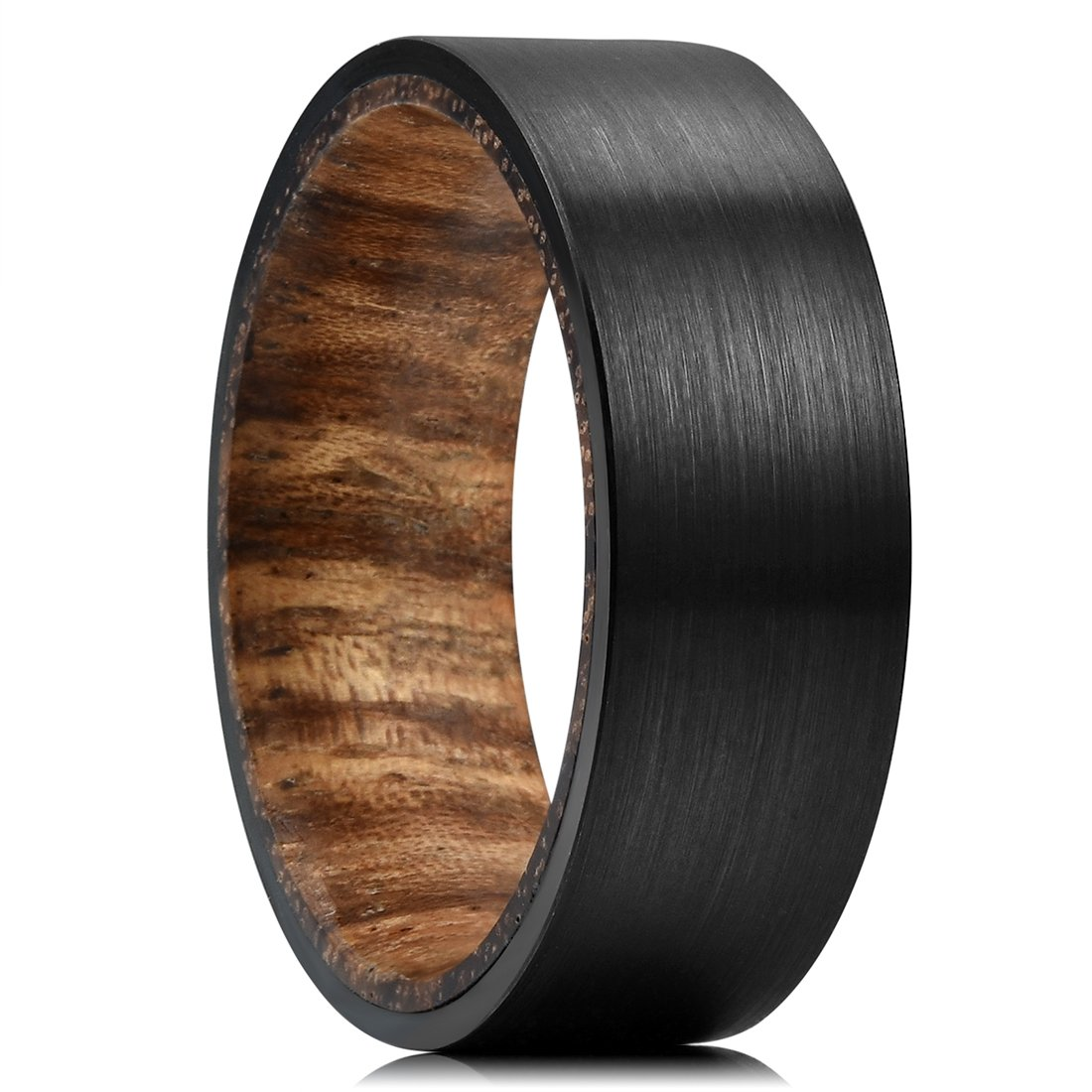 Three Keys Jewelry 8mm Mens Tungsten Wedding Ring Black Brushed with Zebra Wood Inner Flat Hunting Ring Wedding Band Engagement Ring Size 12.5