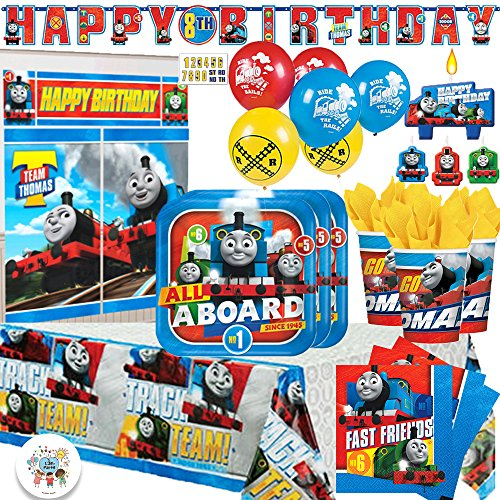 - Thomas The Train Birthday MEGA Party Supply Pack for 16 with Plates, Napkins, Cups, Tablecover, 6 Balloons, Wall Decorating Kit, Happy Birthday Banner, Exclusive Button and Candles by Another Dream!