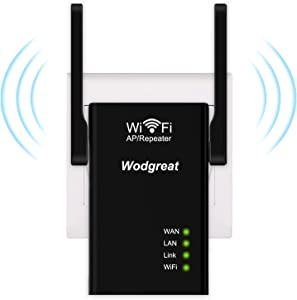 Wodgreat WiFi Repeater 300Mbps, WiFi Range Extender with Ethernet Port WiFi Extenders Amplifier Wireless Signal Booster for Home, Double High Gain Antennas, Supports Repeater/AP/Router Mode Easy Setup
