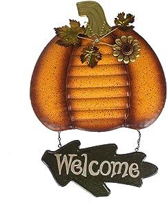 somiss Rustic Pumpkin Welcome Sign, Metal Autumn Harvest Thanksgiving Halloween Wall Decoration Art Front Door Decor, 18