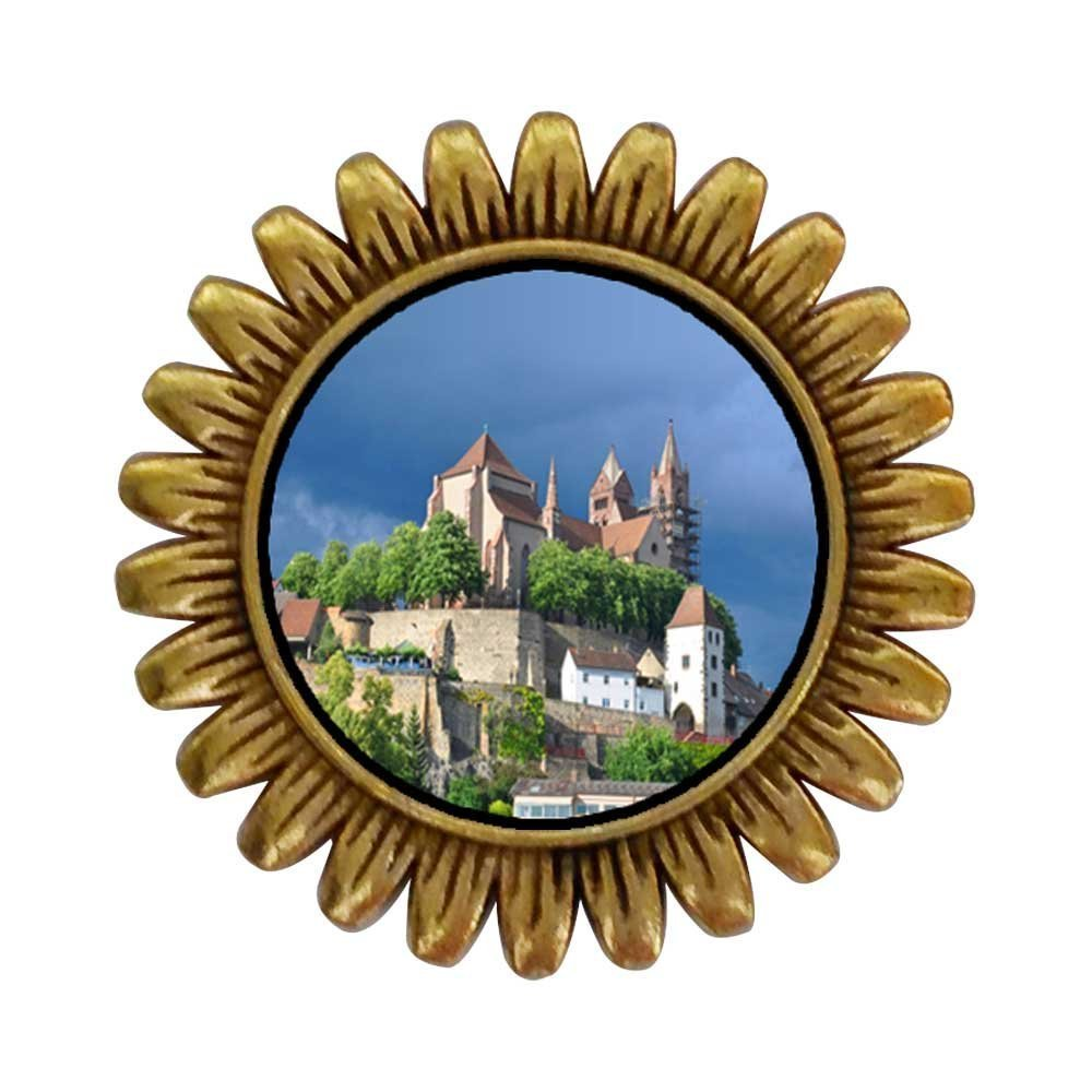 GiftJewelryShop Ancient Style Gold-plated Travel Black Forest Germany Sunflower Pins Brooch