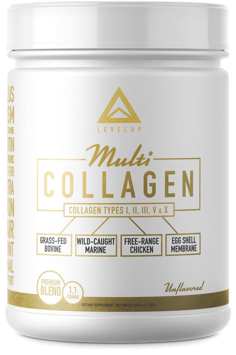 NEW!! Multi-Collagen Protein PLUS Biotin Hyaluronic Acid MSM Glucosamine - Grassfed Bovine - Wild Marine - Free Range Chicken - Eggshell Membrane - Perfect Keto Collagen Type I II III V X - 1.1 LBS