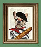 french bulldog poster - Pierre the French Bulldog dog with beret and baguette illustration beautifully upcycled dictionary page book art print