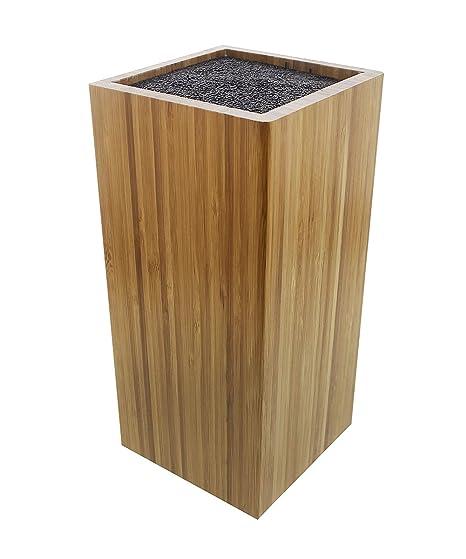 Bambú cuchillo bloque de almacenamiento – mantiene cuchillos protegido y organizado – marrón