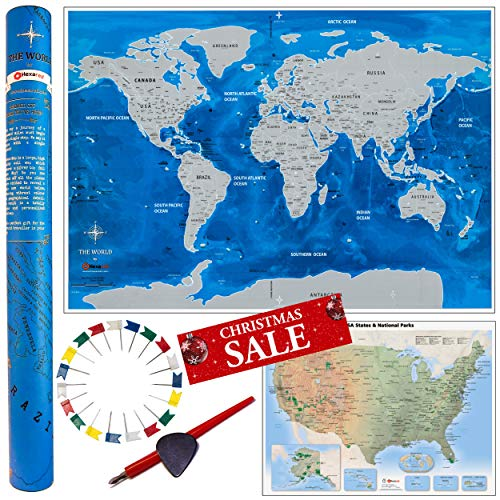 Deluxe Gift Set: Scratch Off World Map 33x23 inch + USA Travel Map + 2 Scratch Tools and 30 Flag Pins to Mark States ive Visited. Detailed Personalized Laminated Watercolor -