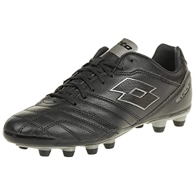 19bb52a018b4 Lotto Stadio 300 II FG Men Soccer Outdoor Leather black grey T3402, shoe  size: