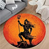 Nalahome Modern Flannel Microfiber Non-Slip Machine Washable Round Area Rug-House Decor Indian Lord Silhouette Holy Divine Mystic Zen Eastern Home Burnt Orange Black area rugs Home Decor-Round 75''
