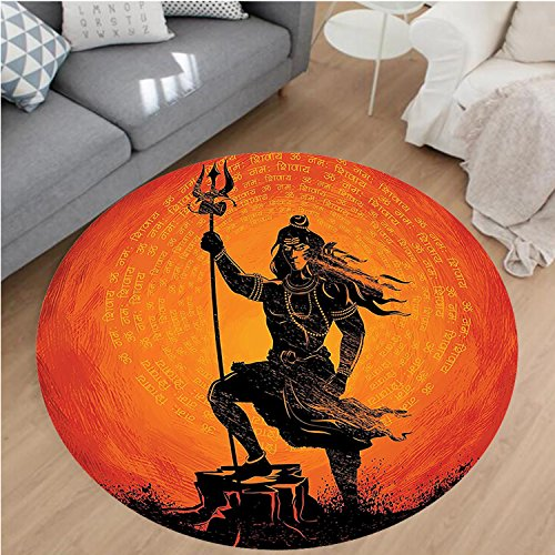 Nalahome Modern Flannel Microfiber Non-Slip Machine Washable Round Area Rug-House Decor Indian Lord Silhouette Holy Divine Mystic Zen Eastern Home Burnt Orange Black area rugs Home Decor-Round 75'' by Nalahome