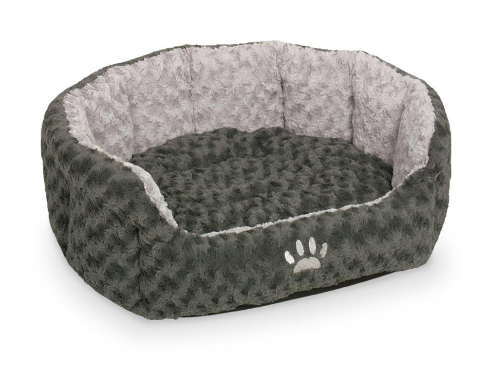 Dark Grey  Light Grey 86 x 70 x 24 cm Dark Grey  Light Grey 86 x 70 x 24 cm Nobby Padded Plush Oval Bed Seoli, 86 x 70 x 24 cm, Dark Grey  Light Grey