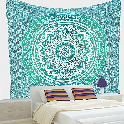 Indian-hippie Bohemian-psychedelic-handmade Ombre-mandala Wall-hanging-tapestry-green Queen-size-large-84×90