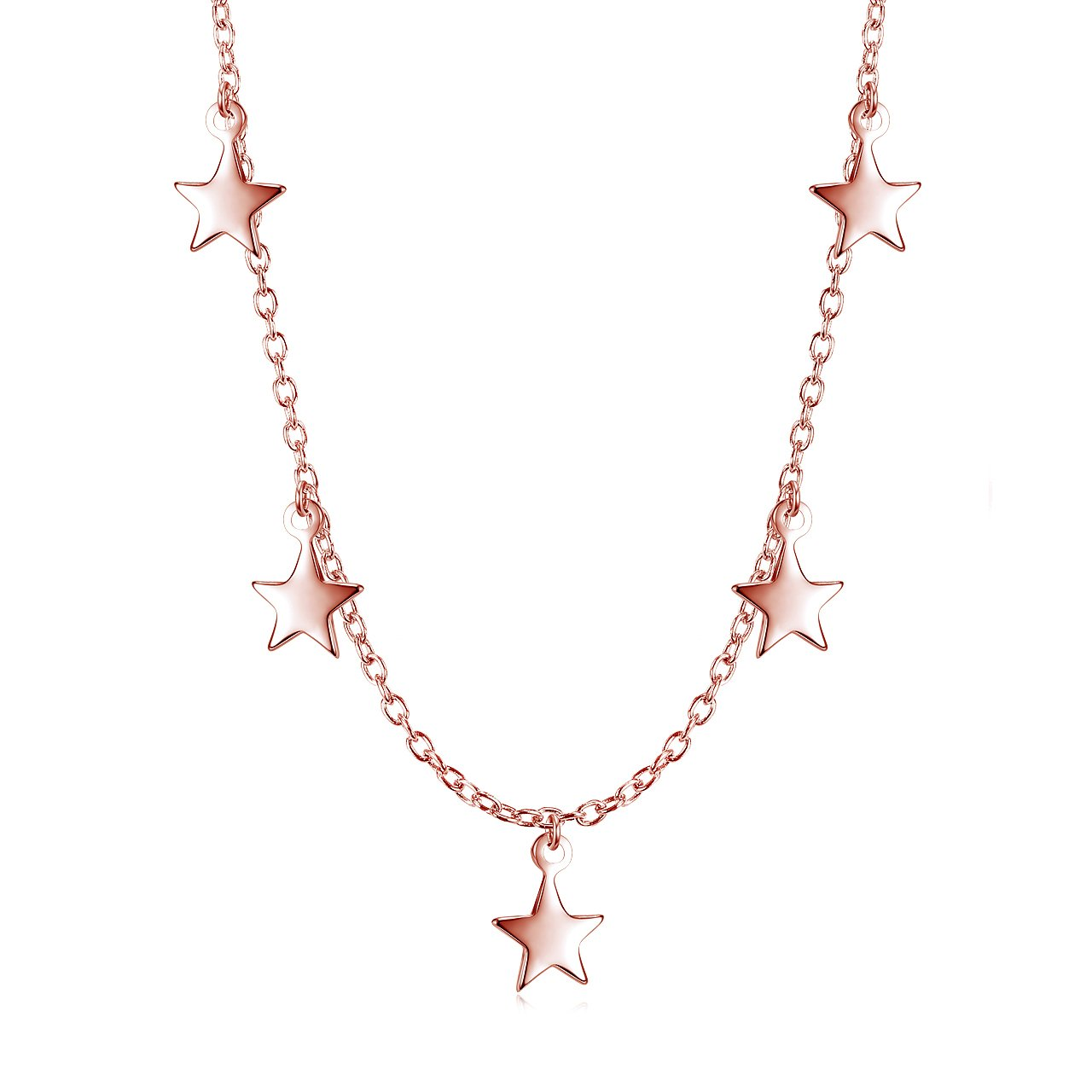 Dangling Stars Choker Necklace - Rose Gold over Sterling Silver