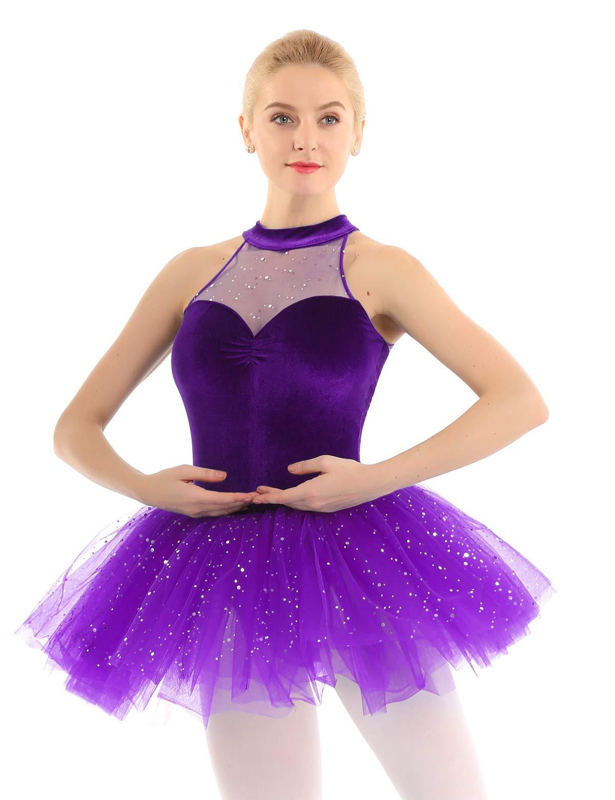 iiniim Women's Ballet Tutu Costume Black Swan Lake Dance Leotard Dress Purple Sequins XL by iiniim