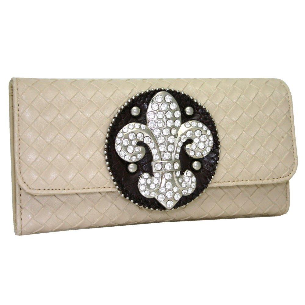Gold Rush W123-BG Women Wooven Rhinestone Fleur De Lis Wallet - Beige   B07B8KX7MQ