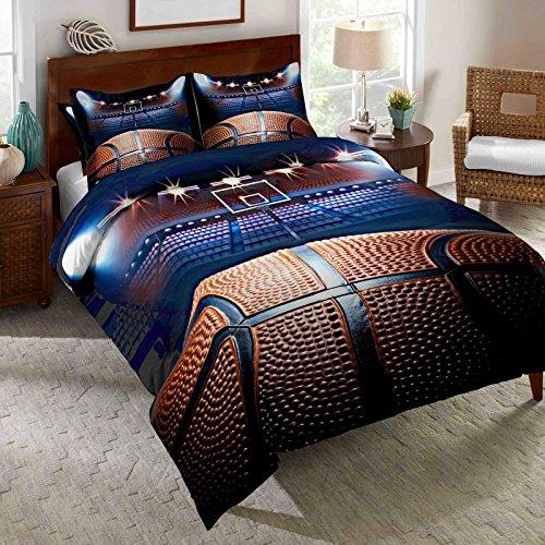 AMOR & AMORE Boys Comforter Set Basketball 3D Men Sports Bedding Set (Full Size)