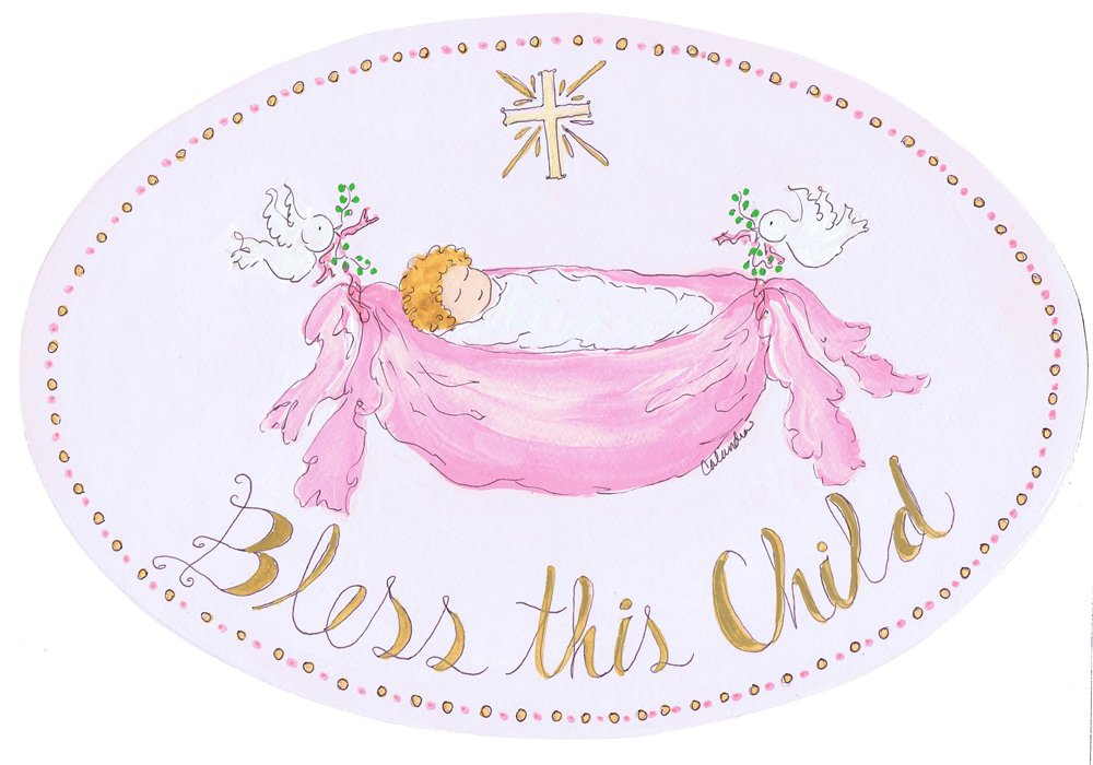 The Kids Room by Stupell Bless This Child with Baby in Pink Hammock Oval Wall Plaque
