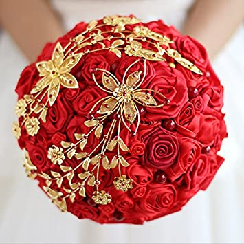 Amazon Com Iffo Red Rose Bridal Bouquet Chinese Style Handmade