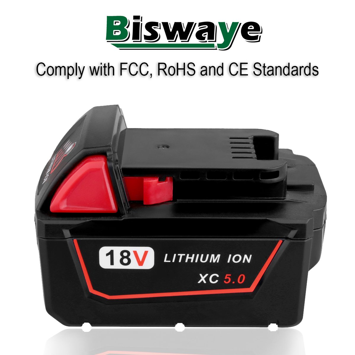 Biswaye 2 Pack 18V 5.0Ah Replacement Battery for Milwaukee 18V High Capacity Red Lithium Cordless Power Tools Battery M18 XC M18B 48-11-1820 48-11-1850 48-11-1828 by Biswaye (Image #8)