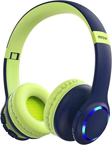 Mpow CH9 Kids Headphones Bluetooth 5.0 LED Light, 14hours Playing Wireless Foldable Headset w Mic, Volume Limited 85dB-95dB for PC Cellphone TV School Greenblue