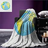 Earth cool blanket Hand Drawn Watercolor Style Earth Kids Art with Color Stains Pattern Pale Blue Yellow Pistachio Green size:51''x31.5''