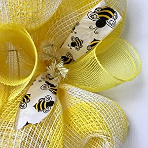 Bumble Bee Floral Spring Summer Deco Mesh Wreath 4