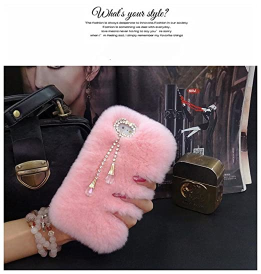 Galaxy S7 Case - LU2000 Beaver Rabbit Furry Case with Double [Pendant  Series] Luxury Fur Fluffy Handmade Phone Cover Bling Pearl Crystals Diamond