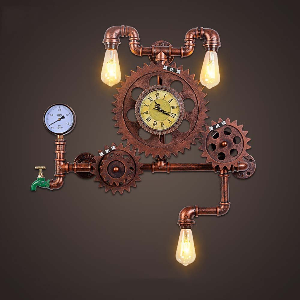 HOMEE Wall lamp- american style retro industrial wind loft water pipe gear decorative ironwork wall lamp creative personality coffee restaurant studio wall lamp --wall lighting decorations
