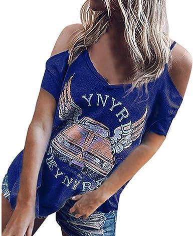 Mujeres Camiseta Hombros Descubiertos, Camisa de Verano Manga Corto Camiseta Mujer Punk Camiseta Tirantes Blusa Tops Azul L: Amazon.es: Ropa y accesorios
