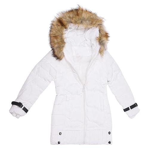 TOOGOO(R)Ropa femenina chaqueta de plumon Abrigo largo encapuchado de invierno cuello de piel ropa e...