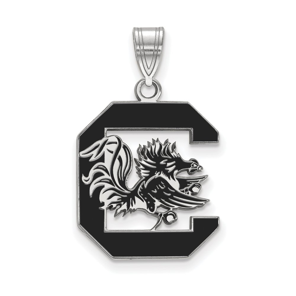 LogoArt Sterling Silver South Carolina Gamecocks Large Enamel Pendant