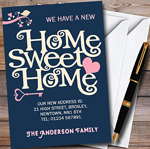 Navy Blue Home Sweet Home New Home Change Of Address Moving House Cards